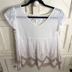 Tops - NWT. White and Cream Sheer Lace Top
